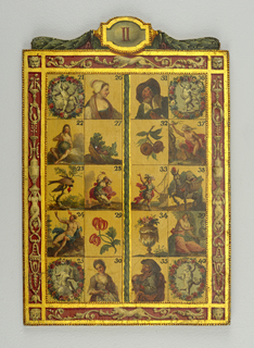 "Panel ""II"" Rectangular board, part of a larger set (1921-22-197 to 209), painted in polychrome colors, gilt, and varnished, with 20 rectangular, decorated sections, numbered 21 thru 40, divided into 4 columns. Number 21, at top left, features winged putto gazing into mirror framed by flower wreath; 22, below, with lactating figure of nude female holding globe in her hands; 23 of red capped European Goldfinch perched in tree; 24 of seated nude male with outstretched arm and fire emanating from the top of his head; 25, at bottom left, with putto holding arrow and shield and framed by flowered wreath; 26, at top, with profile bust of peasant woman wearing white cap; 27, below, of basket of turnips; 28 of bare breasted woman dressed in long flowing robes and crown, wielding dagger and standing before burning city; 29 of orange-red flowers, possibly lilies; 30, at bottom, of 3/4 view of peasant woman holding dish containing coin; 31, at top, with figure of bearded, elderly man in large brown cap, and dark coat with broad white collar, holding coin between his thumb and forefinger; 32, below, of pomegranates; 33 of warrior in armored breastplate, plumed helmet, red flowing robe and sword at his side, standing before a masked ship with arm outstretched; 34 of classical urn containing flowers; 35 of beggar playing violin; 36, at top right, of blindfolded putto with horn and quiver in his hands and framed by flowered wreath; 37 of seated nude male with flowing red robes and transparent veil draped over his head, his outstretched arm grasping a nearby branch; 38 of horse with dressy feathered plume, mask and muzzle, bearing large baskets of bread and vegetables on his back; 39 of partially draped, seated figure of sculptor with tools in hands and marble bust to his side; 40, at bottom right, of putto framed by flowered wreath. Numbered rectangles framed by classical grotesque decoration on 4 sides with gold highlights. Left 2 columns and right 2 columns divided by vertical column of laurel leaves. At top a crest of laurel leaf swags flanks central, gold-framed cartouche inscribed with Roman numeral II. Reverse painted a rose color and is unadorned."