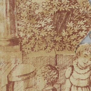 Irregularly shaped fragment shows a kneeling boy and girl. A small dog has the hem of the girl's dress in its mouth and is pulling it. The scene has a low stone wall with two stone columns and vegetation. In red on white.