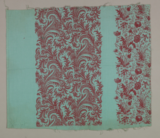 Samples of three different monochrome, small scale, floral vine prints. Single color prints in red, black, orange, brown or blue on grounds of green, blue, pink, red, yellow or brown.