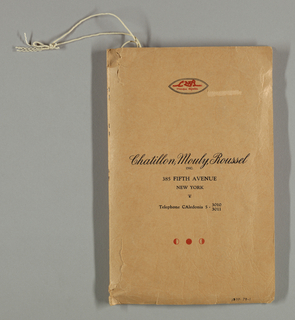 """Sixty-three samples of printed silks, satins, and cottons stapled to white paper with numbers in ink and stapled into a tan paper cover. Cover is labeled: """"Chatillon Mouly Roussel, Inc. 385 Fifth Avenue, New York."""""""