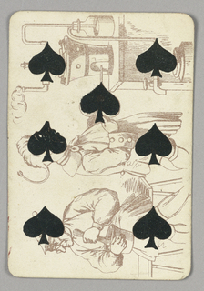 Seven of Spades playing card from a pack of transformation playing cards. Vertically, a scene with two male figures developing a liquid solution, the spades integrated into the features of the men and the machinery. At bottom, a seated man wearing glasses stirs a small pot. At center, a man whose face is made of a spade uses a bellows (made of a spade) to blow air into a machine. At right, a machine with tubes, a bottle, steam, and a faucet.