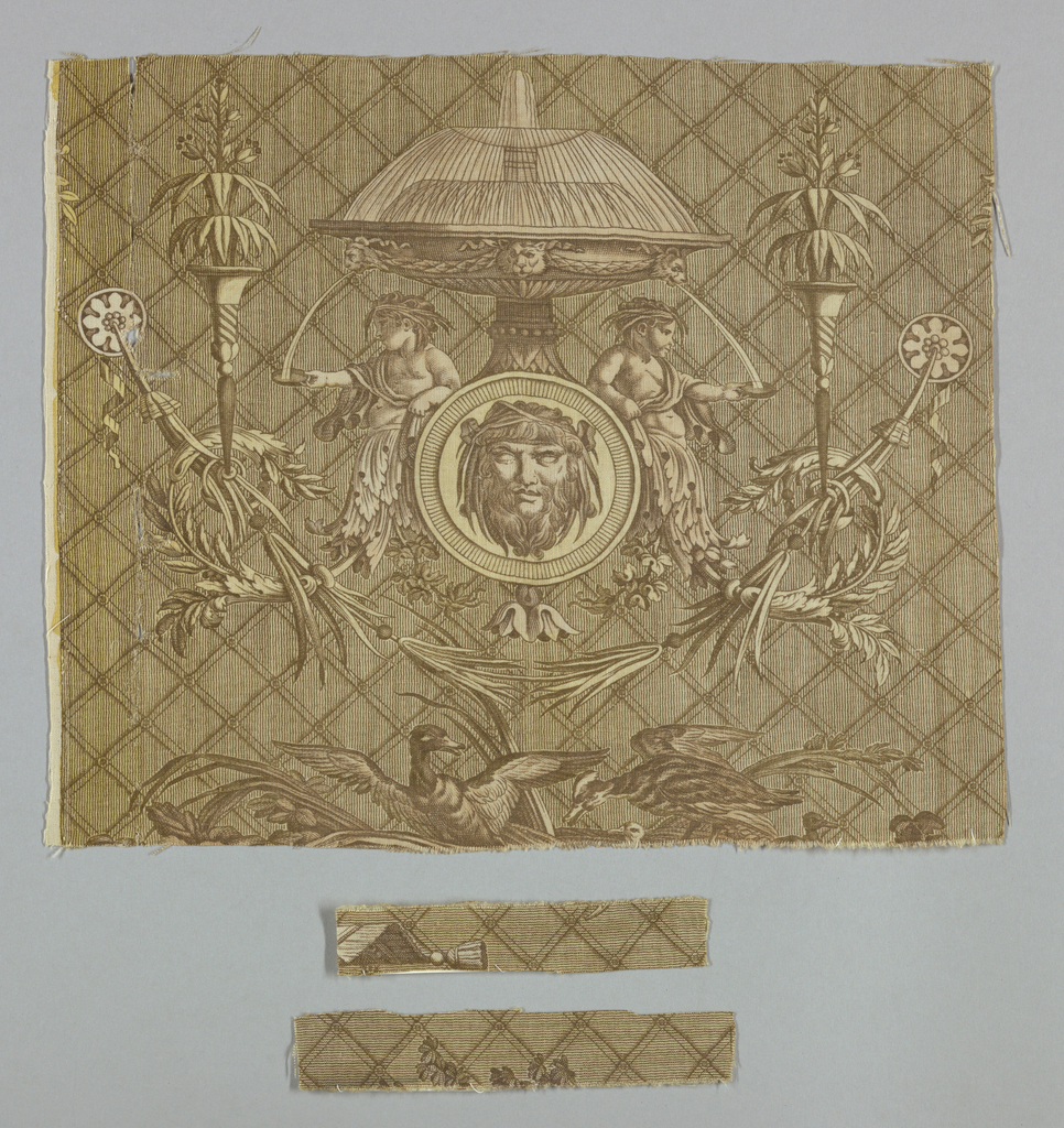 Brown and yellow fragment shows a fountain with two putti underneath collecting water in a shallow dish. The lower half of their bodies terminates in a scroll-like shape. Along the bottom edge are several ducks with reeds.