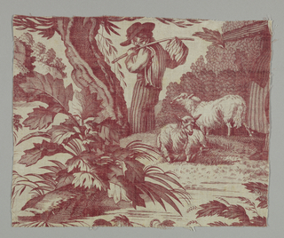 Fragment showing a pastoral scene with two sheep and a young man with a bundle tied to a stick walking away from them. Partial female figure visible on the right. In red on white ground.
