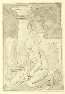 In the foreground a nude child (Christ?) is seated, facing left in profile. A low wall is behind him, with a figure looking over it observing him. The base of a tall candelabrum is to the left of the child, behind him. Twenty-three lines of inscription, reverse.