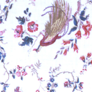 White ground showing a design of birds on thin, flowering branches in red, blue, violet and green (blue printed on yellow). Very crudely printed using blocks cut between 1830–1860.