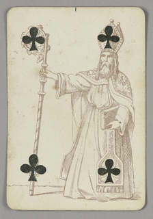 Four of Clubs playing card from a pack of transformation playing cards. Figure of a male bishop carrying a crozier (staff). He wears religious costume and carries a Bible. Two clubs integrated into the design of his staff, the other two integrated into his hat and vestments.