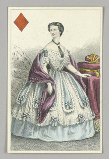 "Elisabeth, Empress of Austria, Queen of Diamonds from Set of ""Jeu Imperial–Second Empire–Napoleon III"" Playing Cards"