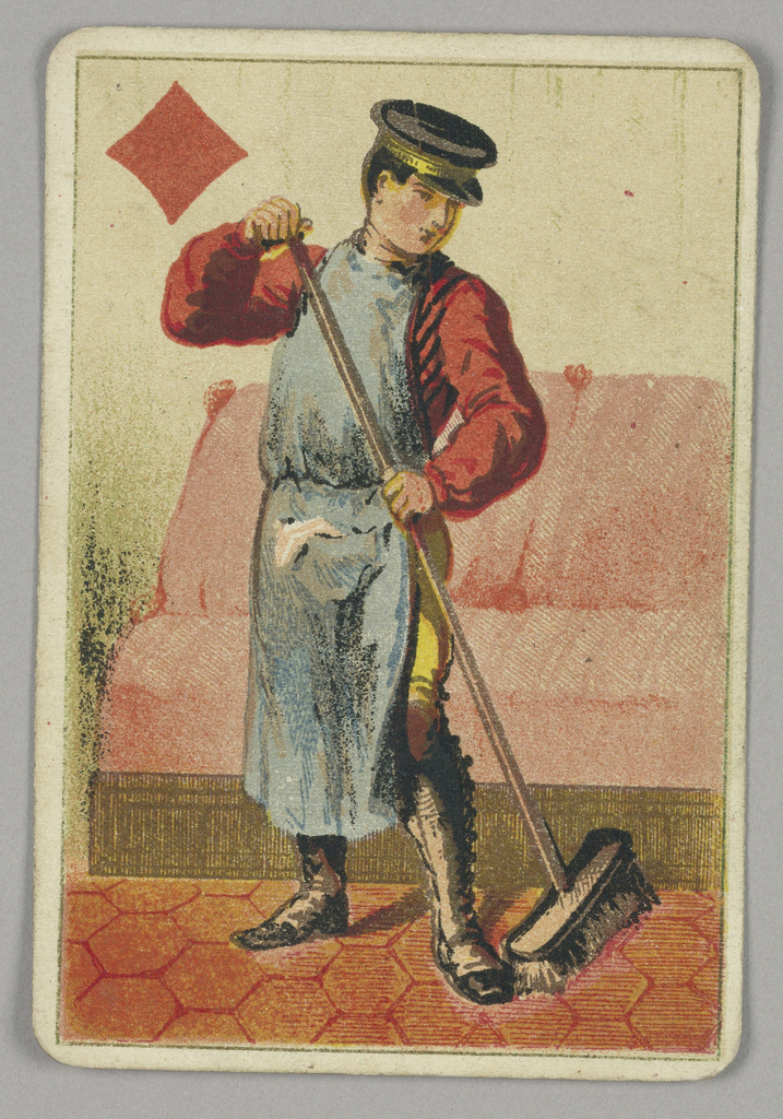 Jack of Diamonds court playing card from a pack of transformation playing cards. A male figure wearing a long apron and hat, sweeping a paved sidewalk or street. A red diamond at upper left.