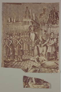 "Fragment shows a group of soldiers and civilians in a city street near a monument with a pedestal inscribed ""Place des Victoires"" and ""Le 24 Juillet."" In the center, a man stands on a chair gesticulating as a woman lies in the street. In purple on white."