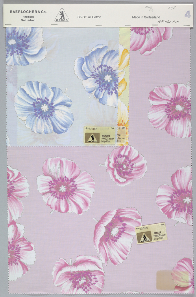 Three samples patterned by large open flower blossoms. Six colors per sample. Bound at top by cardboard.