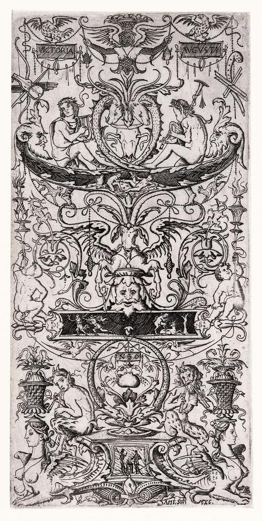 """Print, Ornament Panel Inscribed """"Victoria Augusta"""""""