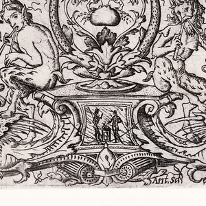 Upper part of the print depicts the musical contest between Apollo, playingthe lyre and Marsayas playing the bagpipes. In a narrow relief below, the flaying of Marsyas is depicted. Seated on a pedestal at bottom of the print two satyrs play musical pipes.In the relief above them, a satyr plays the pipes to a stag on the right, while Apollo chases Daphne on the left. Image is heavily ornamented with figures.
