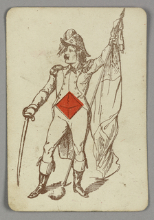 Ace of Diamonds playing card from a pack of transformation playing cards. A male figure in costume, holding a sword in his right hand and a flag in his left. A red diamond centered at his torso.