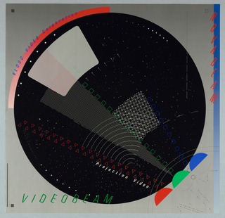 Square format geometric poster. On silver-gray ground, a large black circle filled with an array of patterns in white, red, green, and blue. At the circle's lower right, three semi-circles arranged in a row; each emits a pattern of colored outlined shapes--red triangles, green squares, and blue circles. At the black circle's upper left edge, a curving red arc with blue printed text superimposed. Green text at lower left, red at upper right. A blue vertical border line at right edge. Additional arrows, arcs, and shapes at lower right.