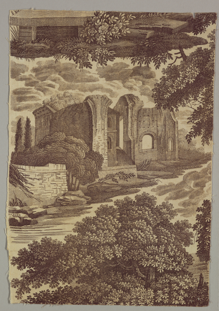 Architectural scene with trees and clouds. Printed in mauve on tan background. Signed MAADER SCULP.