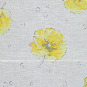 Four samples patterned by open rose blossoms on stems with thorns, bubble pattern scattered across ground. Five colors per sample.