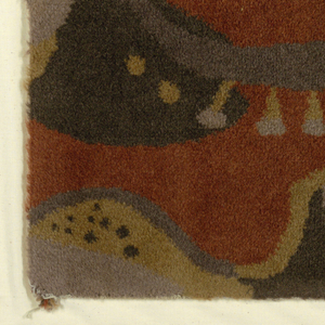 Fragment of carpet with a grid of six rectangles depicting guitar, saxophone, and other musical instruments. In dark orange, greys, black, and yellow.