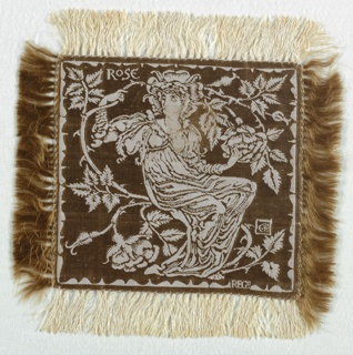 Small square doily, fringed on all sides, with an ivory linen warp and a bronze-colored silk weft. A figure of a woman dressed as a rose with and sitting on the stem of a large rose, with the word ROSE in the upper left, all appearing in ivory on a bronze ground. A set of six, the doilies would have been used on the table as part of a dessert service.
