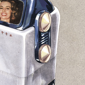 A depiction of a portable television set in lower half of sheet on blue-gray ground.  Television has upright rectangular shape with a with white metal or plastic body with blue base, feet, and top.  Two large conically shaped gold dials, one above the other on narrow upper right side.  A pop-up screen, encased in blue metal or plastic, shows woman's face.  Screen is surmounted by a streamlined handle from which projects a chrome antenae with three cross bars of graduated length from top to bottom.  Light reflects off the antenae on the vertical stem and on the lowest of the three cross bars producing white star-like highlights.