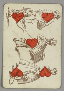 Five of Hearts playing card from a pack of transformation playing cards. Vertically, a figural scene in outline. At center, a figure of a street performer holding a music box and a monkey on a leash wearing a hat and holding a sword. At top, a man holding a basket. At bottom, a woman in a long dress holding the hand of a child. Red hearts integrated into the torsos of the figures.