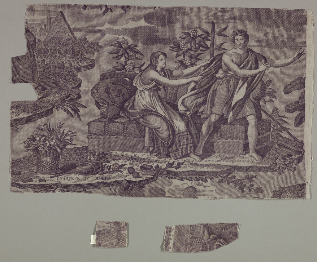 "Fragment shows a scene entitled ""Chasteté de Joseph,"" which depicts a seated woman reaching for the robes of standing man as he attempts to move away from her. They are surrounded by foliage and a basket of flowers. Architectural elements are suggested in the background. In purple on white."