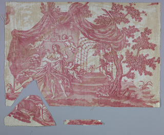 Fragment shows winged figures dancing under a canopy with trees and a trellis of flowers in the background.