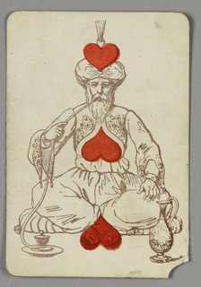 Three of Hearts playing card from a pack of transformation playing cards. Male bearded figure depicted in outline, wearing oriental dress including a turban. He sits in a meditative pose on a cushion, his legs folded, and smokes from a long pipe. Three heart symbols integrated into his image, the uppermost heart forming a decoration of his turban, the center heart forming decoration at his chest, and the third heart forming his crossed feet.