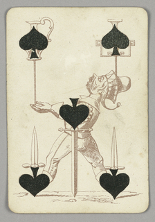 Five of Spades playing card from a pack of transformation playing cards. Male juggler figure depicted in outline, shown in profile facing left. He wears a jester's hat and balances a group of objects, all of which incorporate the spade symbol. In his left hand, he balances a ceramic vase on a long pole. From his head, another vase is balanced on a shorter pole, the spades forming the bodies of each vase. From his feet, he balances two swords, the spades forming his boots and the hilts of the weapons. At center, another sword is balanced with its tip pointed down, the spade again composing the hilt.