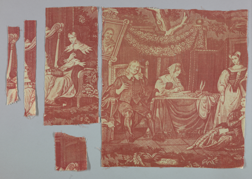"""Fragment shows Milton dictating to his daughters. A caption at the bottom reads """"Milton et ses Filles."""" In red on white."""