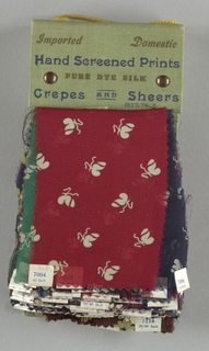 "Seventy-three samples of printed silk crepes and chiffons from Spring and Summer 1937 in blue cloth-covered binder. Binder printed: ""Moss-Still, Inc. 501 Madison Avenue New York."""