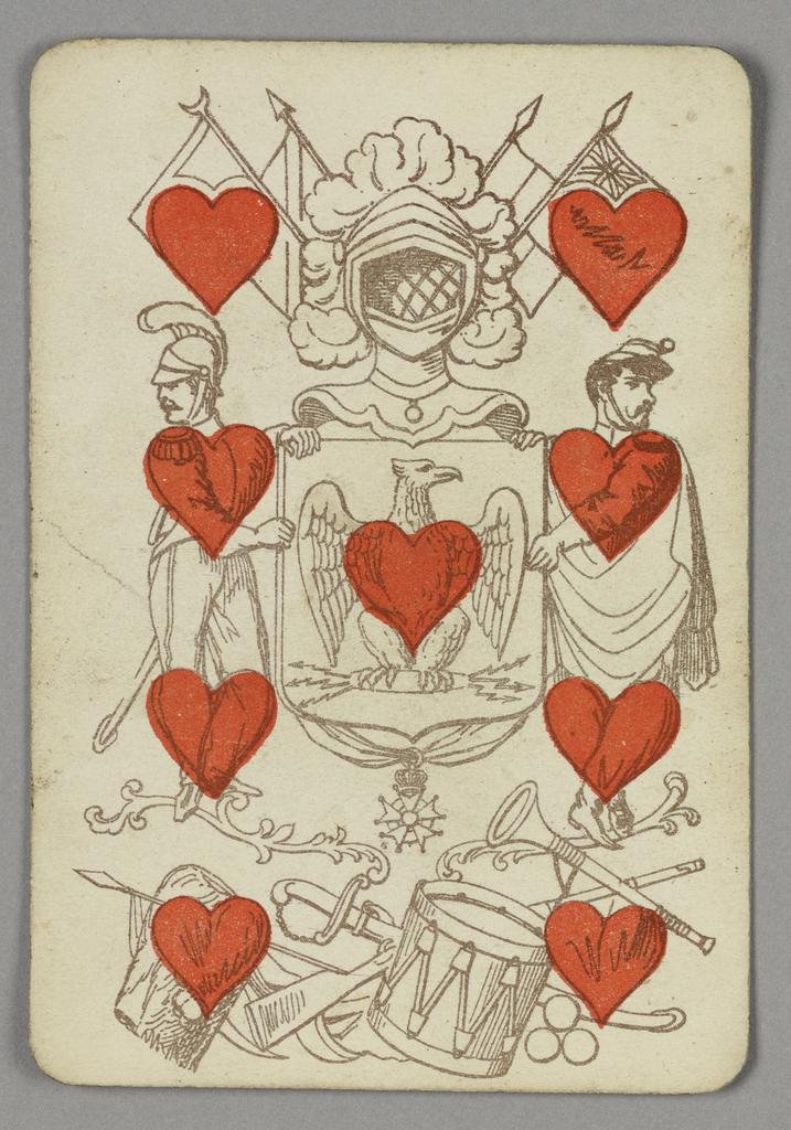 Nine of Hearts playing card from a pack of transformation playing cards. Figural scene depicting two men holding a shield at center decorated with an eagle. Above, a helmet and banners. Below, a group of weapons and musical instruments. Red hearts integrated into the figures of the scene.