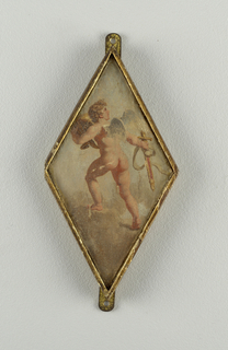 Cherub with sword and helmet, seen from behind. Diamond-shaped frame.