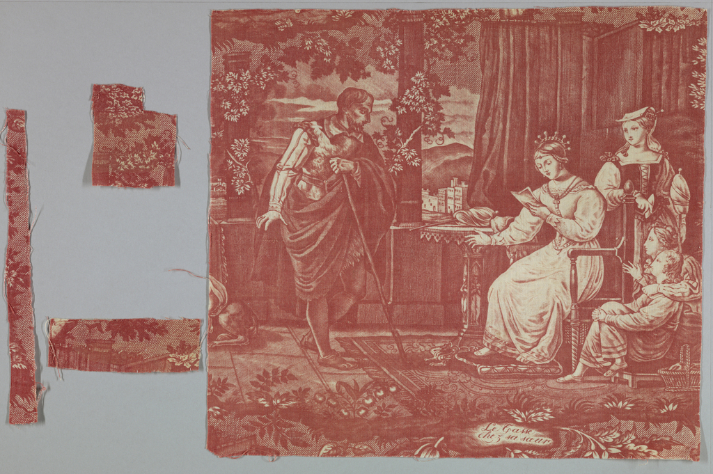 """Fragment shows a scene of a woman seated in a chair reading a letter to a gentleman who stands before her. Three children are next to her chair. They are dressed in sixteenth century style clothing. A caption at the bottom reads """"Le casse chez sa soeur."""" In red on white."""