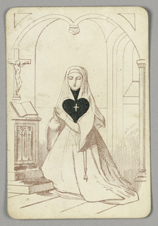One of Spades playing card from a pack of transformation playing cards. Female figure depicted in outline in a church interior, wearing a nun's habit with a rosary hanging from her waist. She kneels and clasps her hands in prayer, her eyes cast down; an open book and crucifix at left. The black spade symbol is depicted upside down, occupying the space of her neck and chest. Within it, a small white cross.