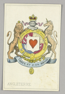 """England, Ace of Hearts from Set of """"Jeu Imperial–Second Empire–Napoleon III"""" Playing Cards."""