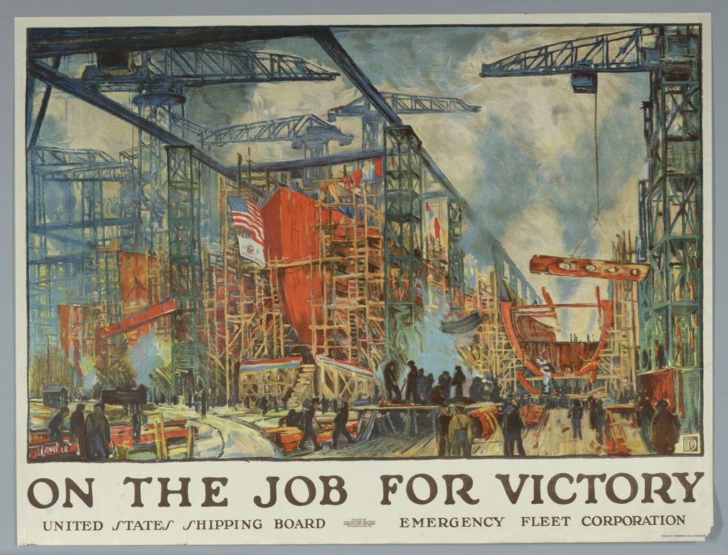 Poster showing a panoramic view of a busy shipyard.