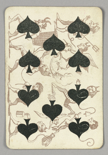 Ten of Spades playing card from a pack of transformation playing cards. Vertically, a scene of devil and demon creatures and figures, spades integrated into their torsos. Many figures are hybrid monsters with tails or wings. One wields a pitchfork, and one flies on a broomstick.