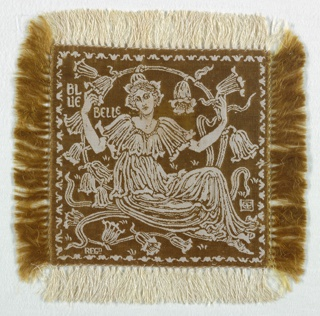 Small square doily, fringed on all sides, with an ivory linen warp and a bronze-colored silk weft. A figure of a woman dressed as a bluebell with and framed by bluebells, with the word Bluebell in the upper left, all appearing in ivory on a bronze-colored ground. A set of six, the doilies would have been used on the table as part of a dessert service.