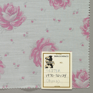 Eight samples patterned by multi-petaled rose blossoms with tiny rose buds scattered in the background. Four colors per sample.