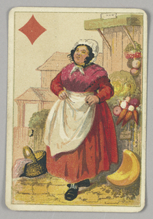 Queen of Diamonds court playing card from a pack of transformation playing cards. A female figure wearing a red dress, white apron, and white hat. She is surrounded by a basket at left and various vegetables and produce at right. A red diamond in upper left corner.