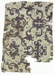 Off white plain weave ground with brown and blue striated velvet pattern of flourishes.