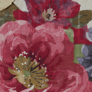 Small squares of various sizes, showing different stages in the roller printing of a floral pattern: eleven colors, plus background filling.