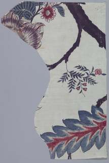 Irregular fragment of a large scale design with tree trunk, flowers and large leaves.