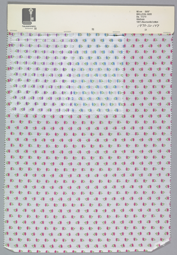 Three samples patterned by small flowers in rows, in alternating directions. Four colors per sample. Bound at top by cardboard.