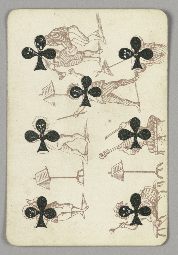 Seven of Clubs playing card from a pack of transformation playing cards. Vertically, a group of minstrel figures shown in stereotypical blackface, the symbols of the clubs used to color their faces, their features highlighted in white. The figures play various musical instruments including drums, vioiln, cello, and horns. Three music stands throughout scene.
