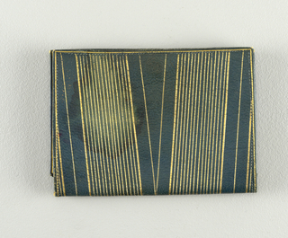 Rectangular (closed), green leather with gilded linear patterns.