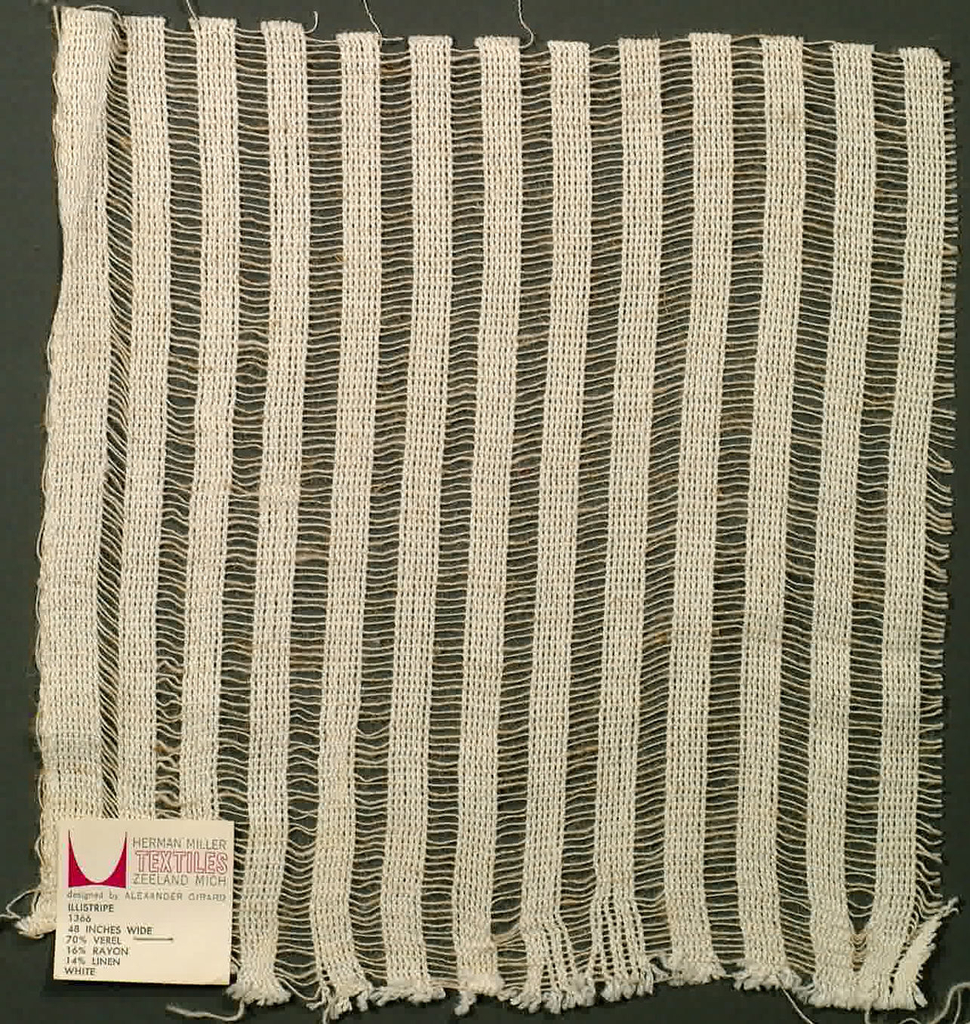 """Gauze weave in natural white. Pattern consists of heavier warp yarns grouped together with 3/8"""" between them. Weft consists of lighter yarns evenly spaced."""