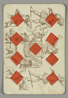Nine of Diamonds playing card from a pack of transformation playing cards. Vertically, a figural scene in outline depicting a parade of various figures. At left, a row of people: a woman carrying an ax, a male figure with sword, a gentleman in a flowered hat, and a masked figure blowing a horn. At right, a figure dressed as a sea king, a child blowing a trumpet riding a costumed bull, and a male dressed as a devil with a fake nose and pitchfork. Red diamonds integrated into the scene.