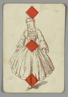 Three of Hearts playing card from a pack of transformation playing cards. A female figure with long braided hair and a full dress, three red diamonds centered vertically across the figure.