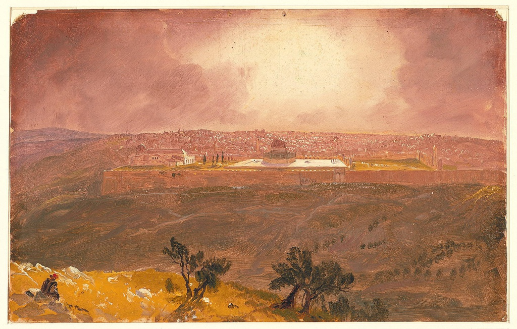 Horizontal rectangle. A part of the hill with two groups of trees and a seated Arab figure is shown in the left and central foreground. In the right foreground and in the middle distance view across the Valley of Jesophat.
